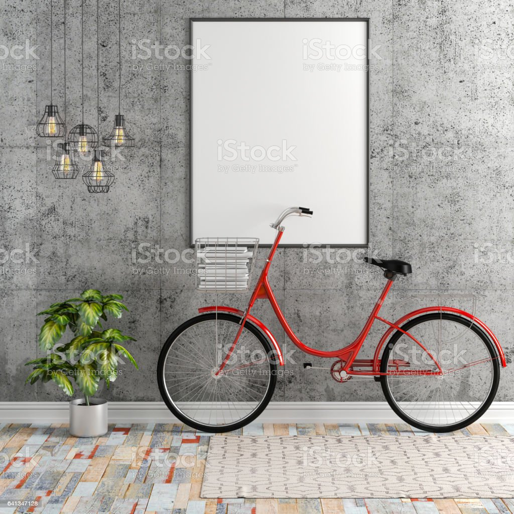 3d interior with blank frame and bicycle vector art illustration
