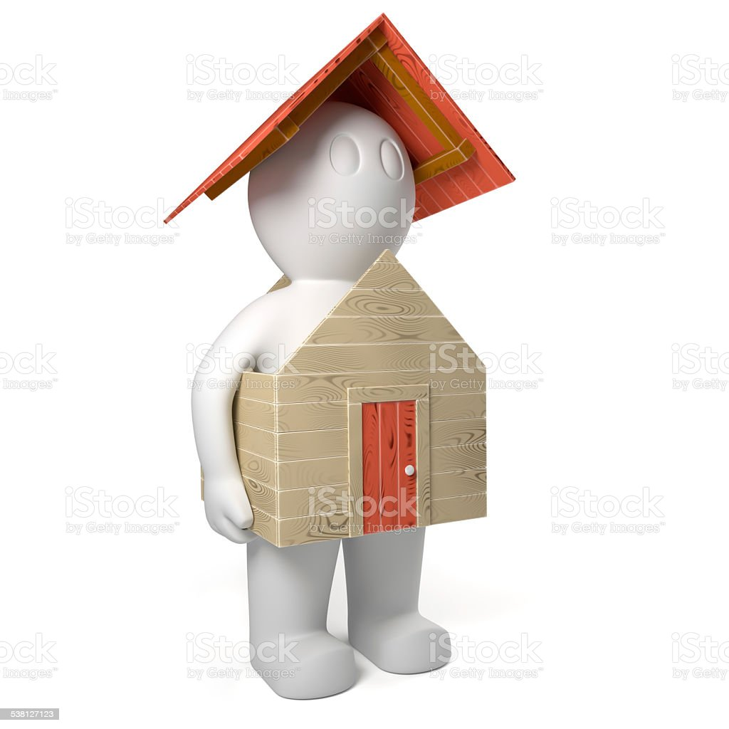 3d man holding small house vector art illustration