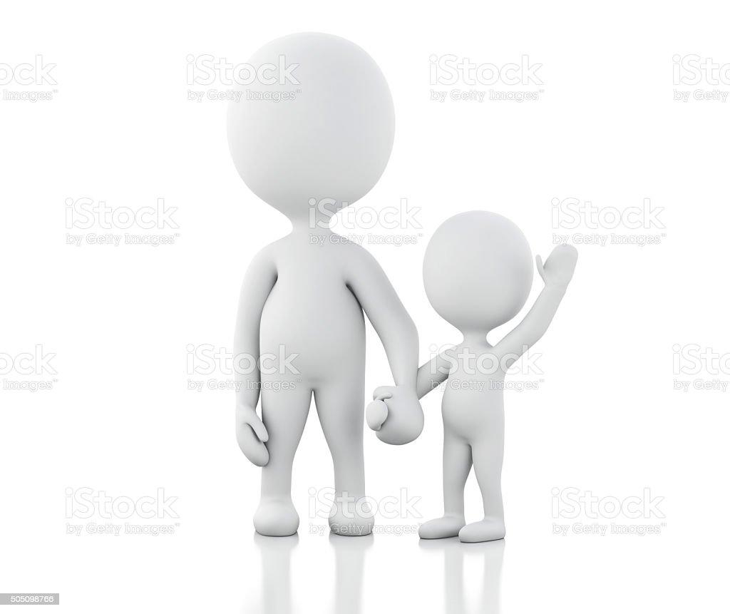 3d parents with children. vector art illustration