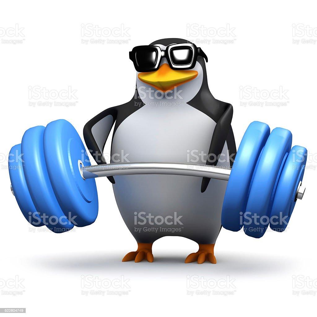 3d Penguin lifting heavy weights vector art illustration