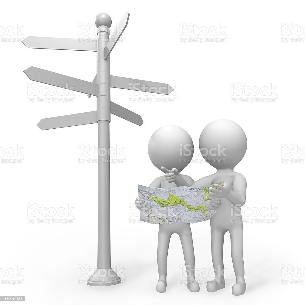 3d people at a signpost royalty-free stock vector art