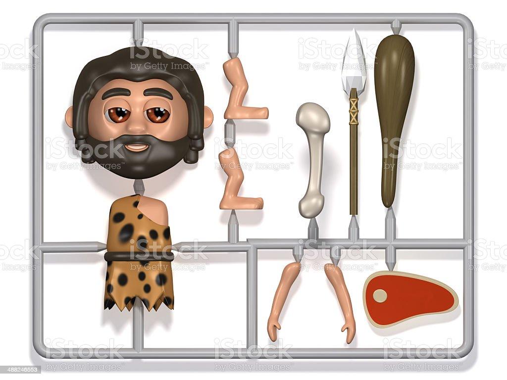3d Plastic caveman construction kit vector art illustration