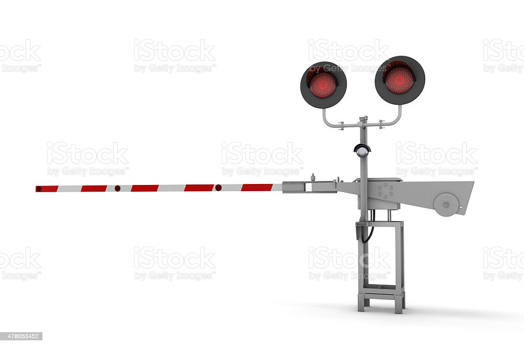 3d railway barrier vector art illustration