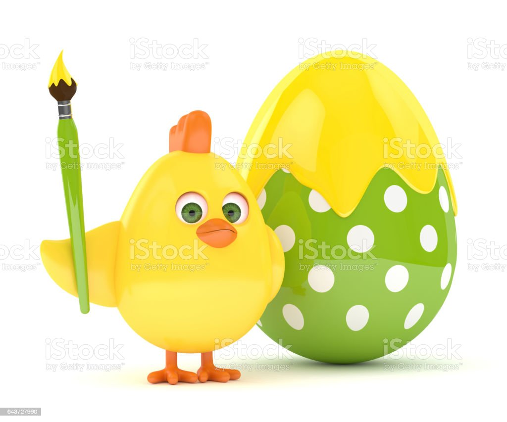 3d render of Easter chick with egg stock photo
