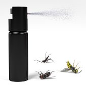 3d render of spray killing insect