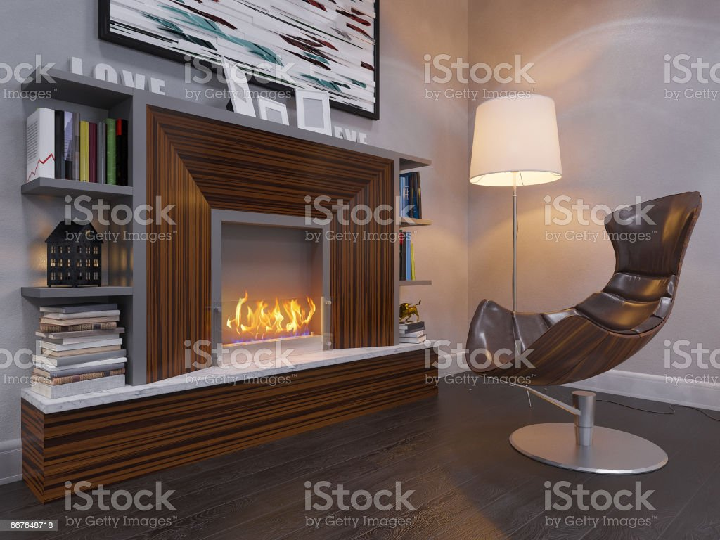 3d render of the interior design living room. stock photo