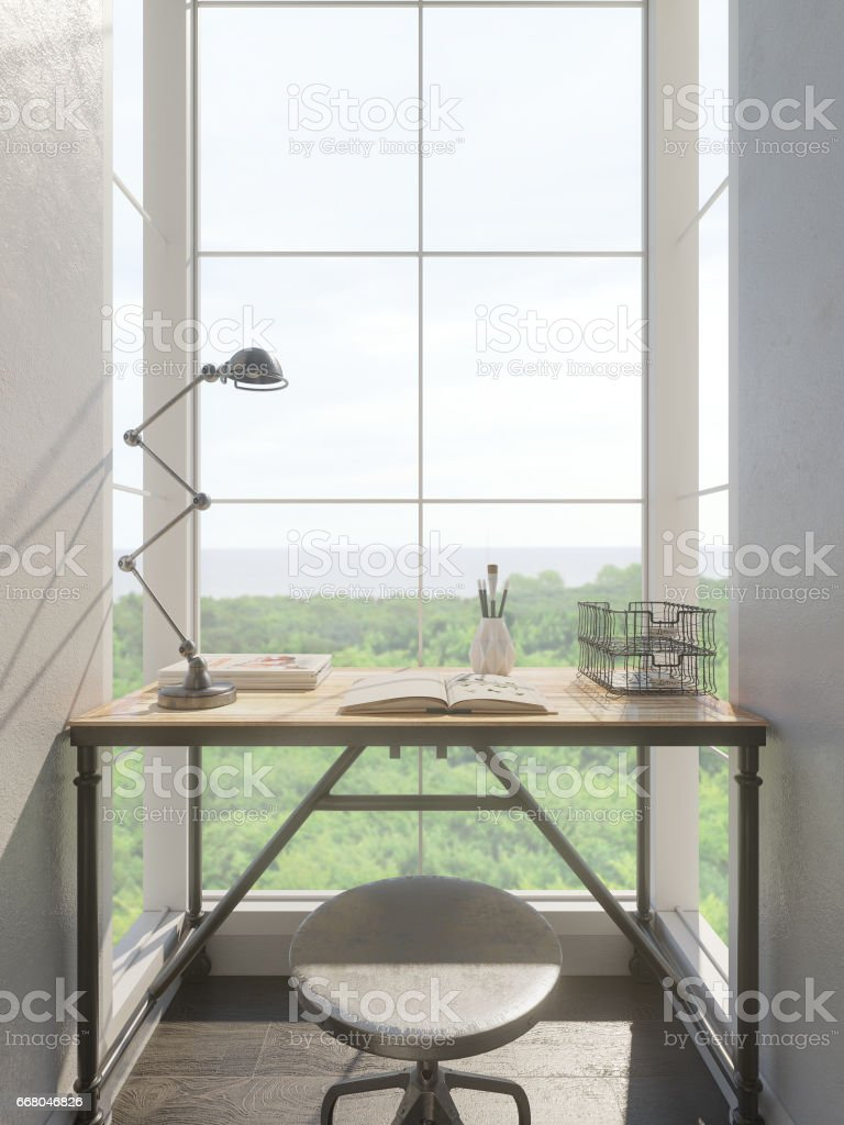 3d render of the interior design of the small office stock photo