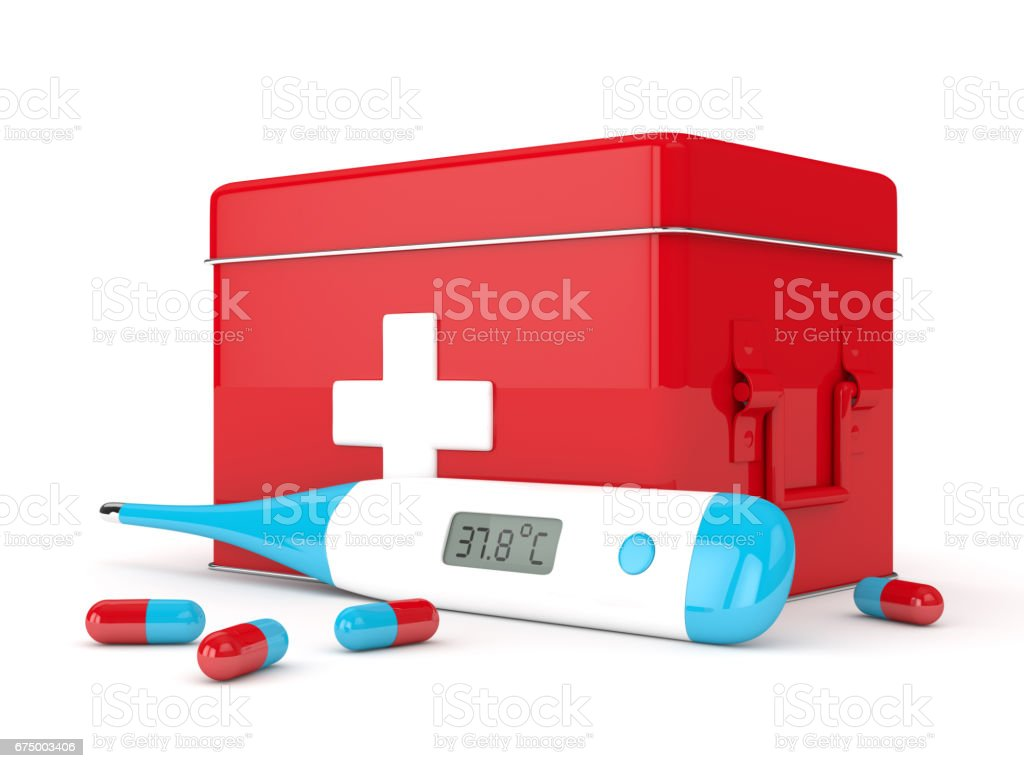 3d render of thermometer, first aid kit and pills stock photo