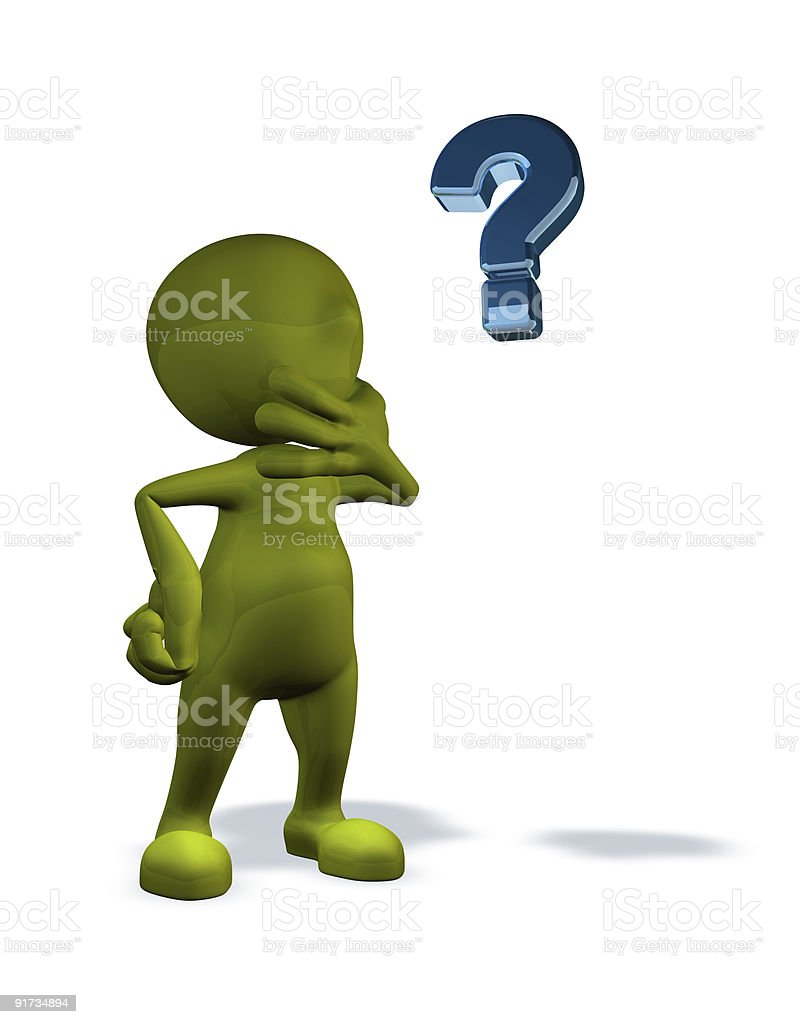 3d rendered character with question mark royalty-free stock vector art