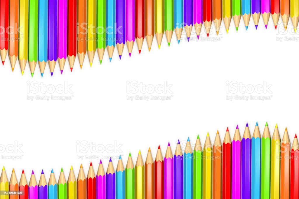 3d Rendered Illustration of a row or ribbon of rainbow colored pencils over white background with copy space in the middle. vector art illustration