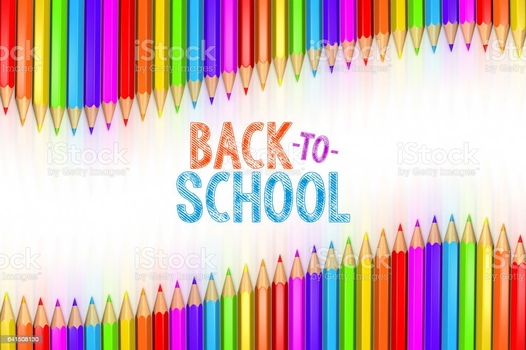3d rendered illustration of Back to School graphic with ribbon of rainbow colored pencils over white background. vector art illustration