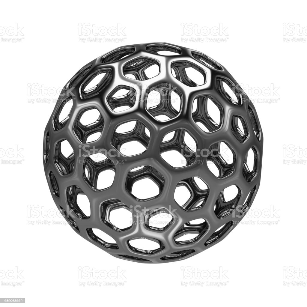 3d Rendering abstract hollow sphere on white background vector art illustration