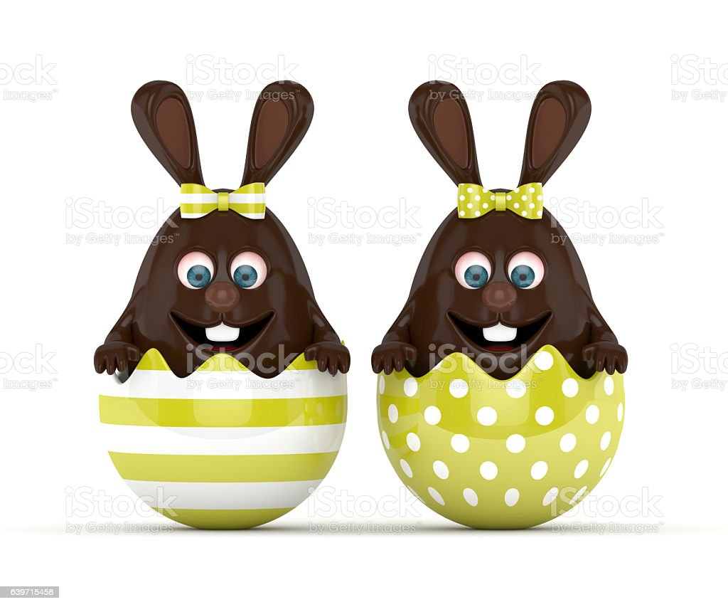 3d rendering of easter chocolate bunny egg with painted eggs stock