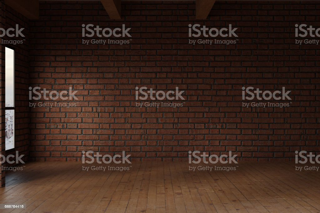 3d rendering of empty studio room with red bricks wall vector art illustration