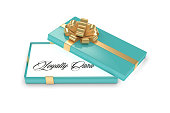 3d rendering of gift box with loyalty card over white