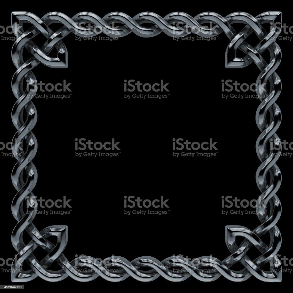 3d silver metallic Celtic pattern frame, keltic ornamental border vector art illustration