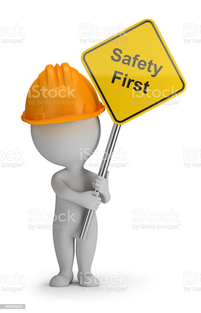 3d small people - safety first vector art illustration