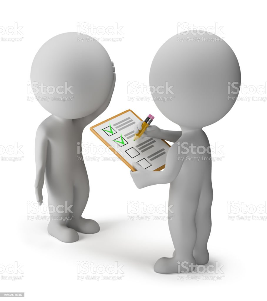 3d small people - survey stock photo
