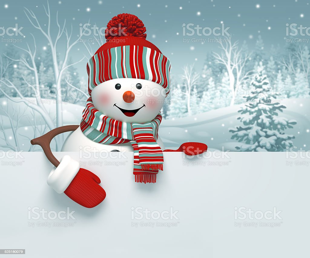 3d snowman holding holiday blank page template, Christmas background illustration vector art illustration