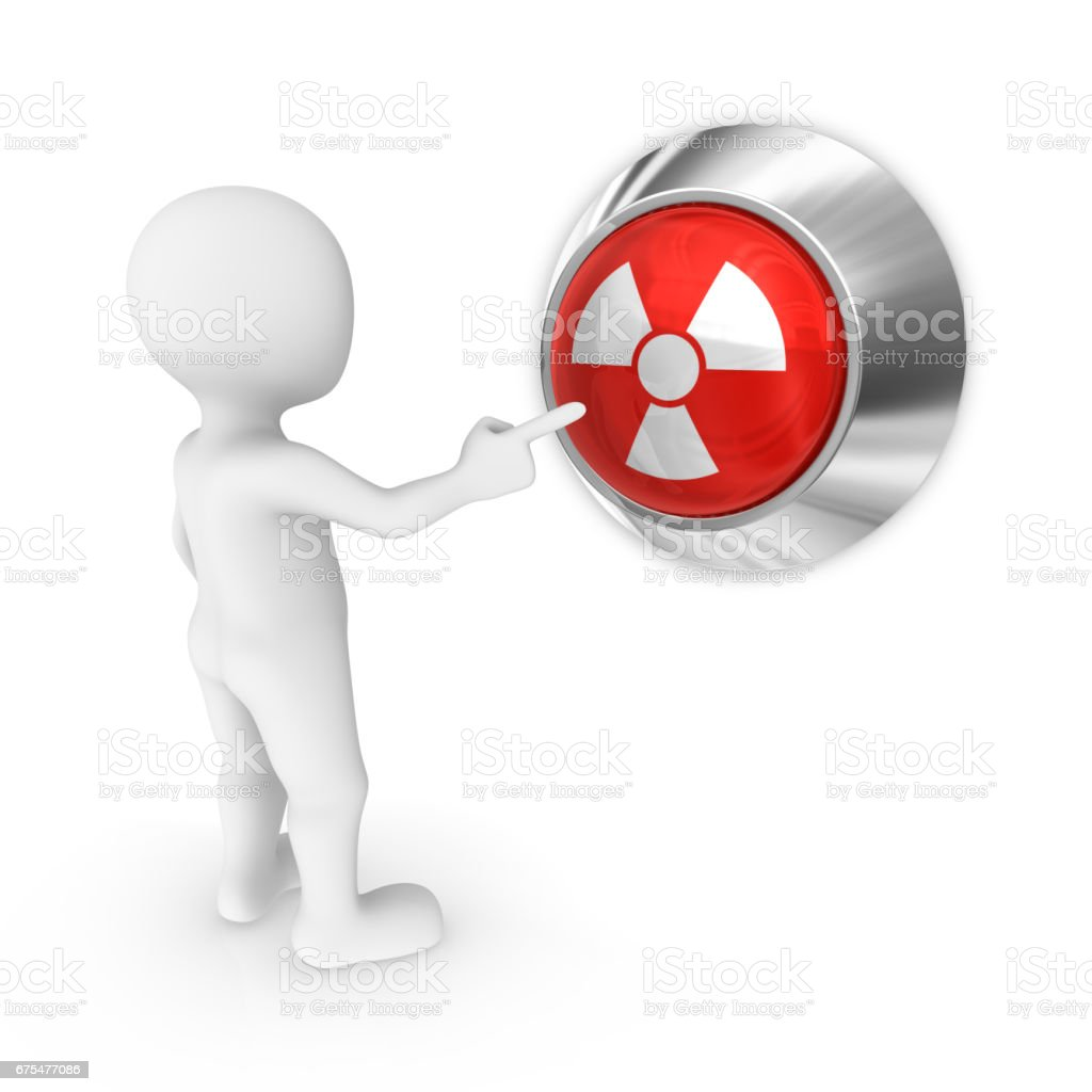 3d white man presses the nuclear attack button. vector art illustration