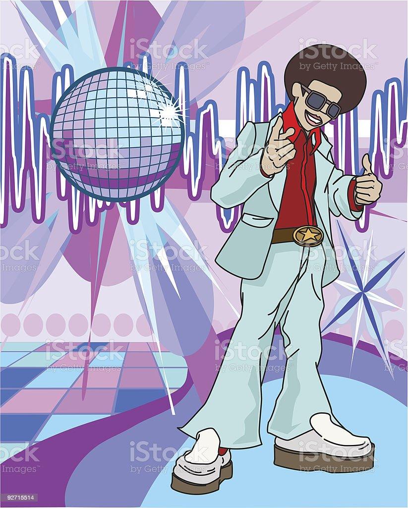70s funky guy vector art illustration