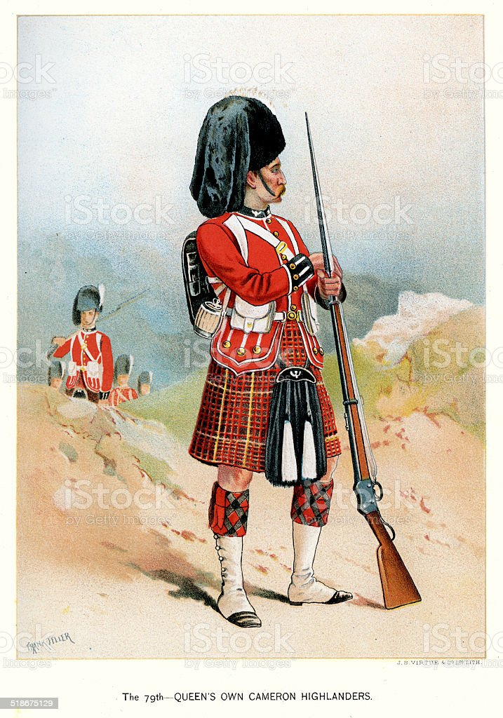 79th Queen's Own Cameron Highlanders vector art illustration