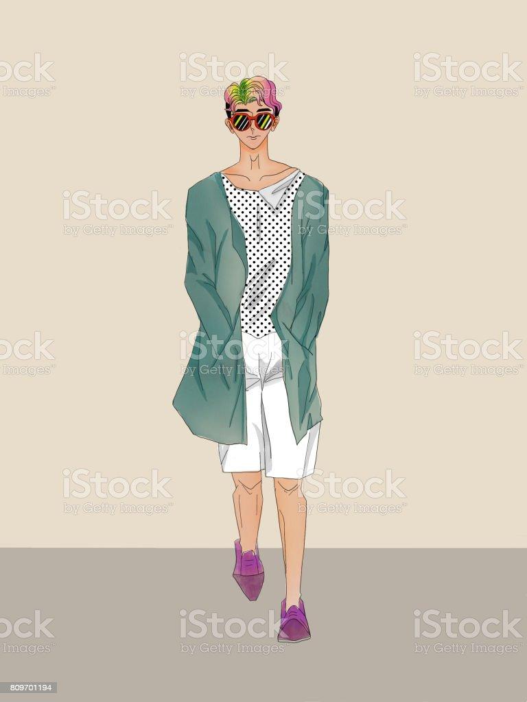 a fashion single man vector art illustration