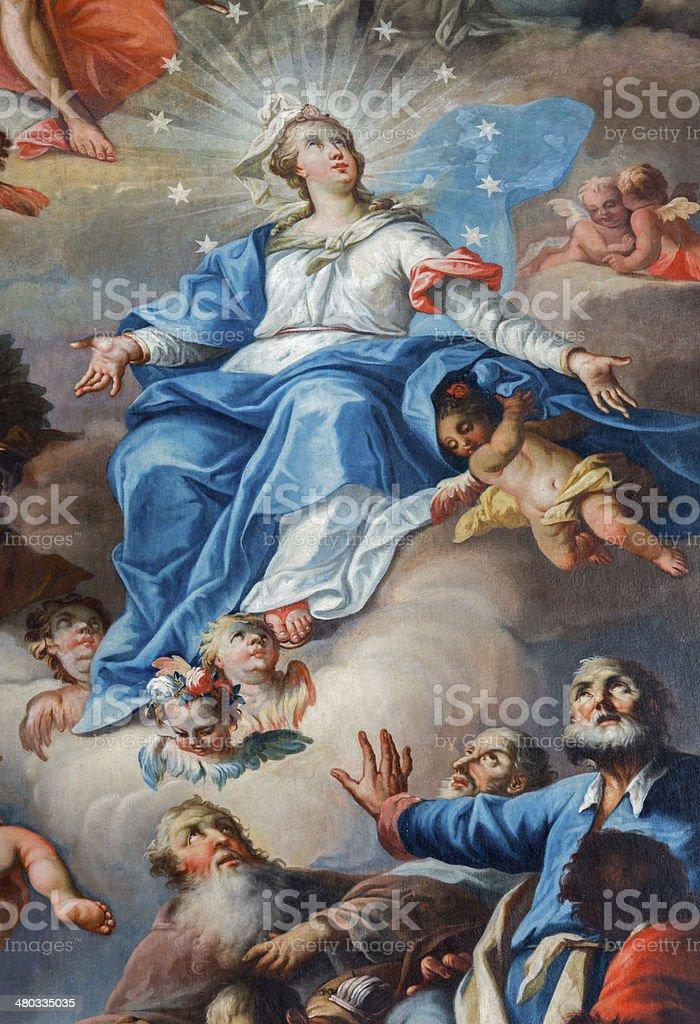 Aaint Anton, Slovakia - Assumption of Virgin Mary paint vector art illustration