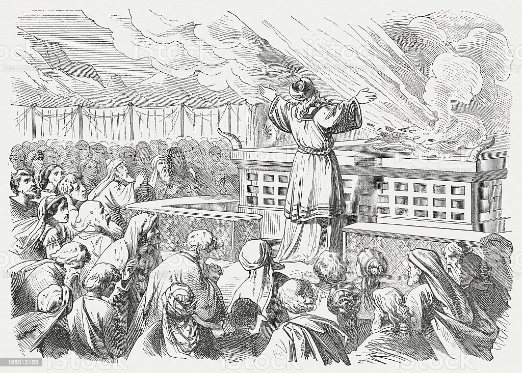 Aaron before the altar (Leviticus 9), wood engraving, published 1877 royalty-free stock vector art