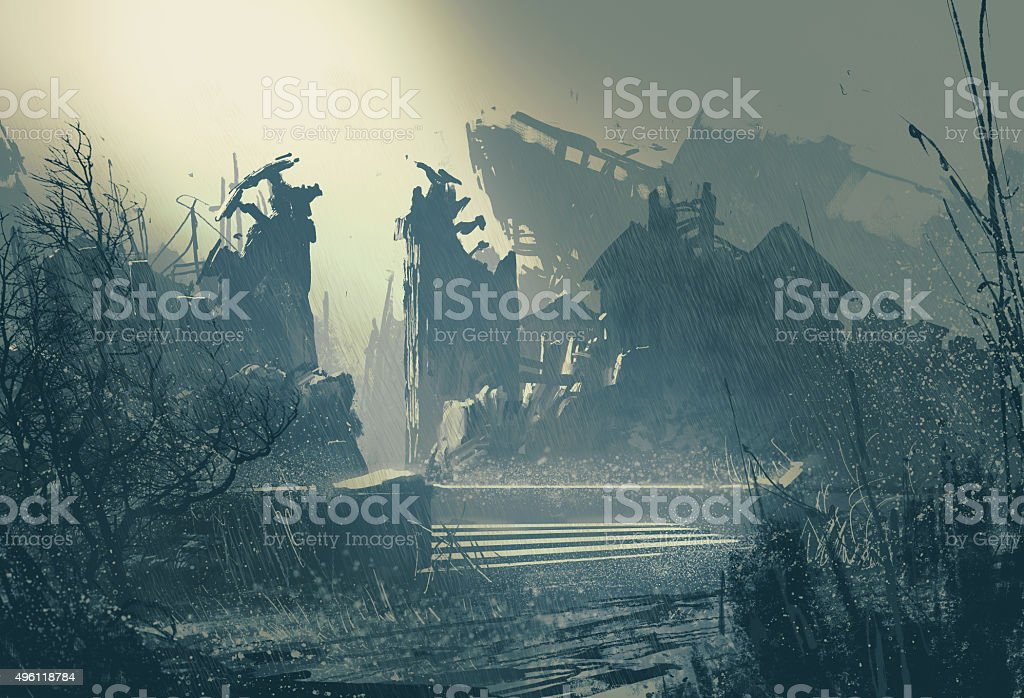 abandoned city in heavy rain vector art illustration