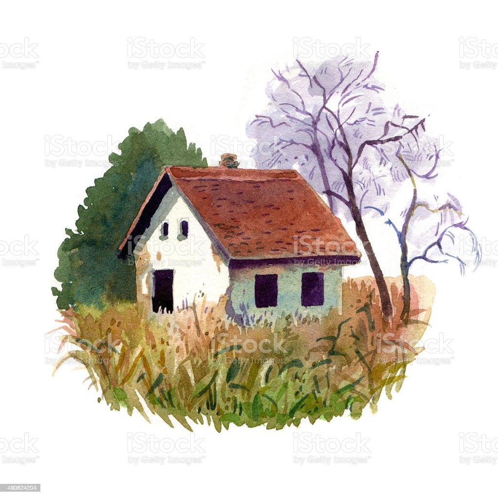 Abandoned house vector art illustration