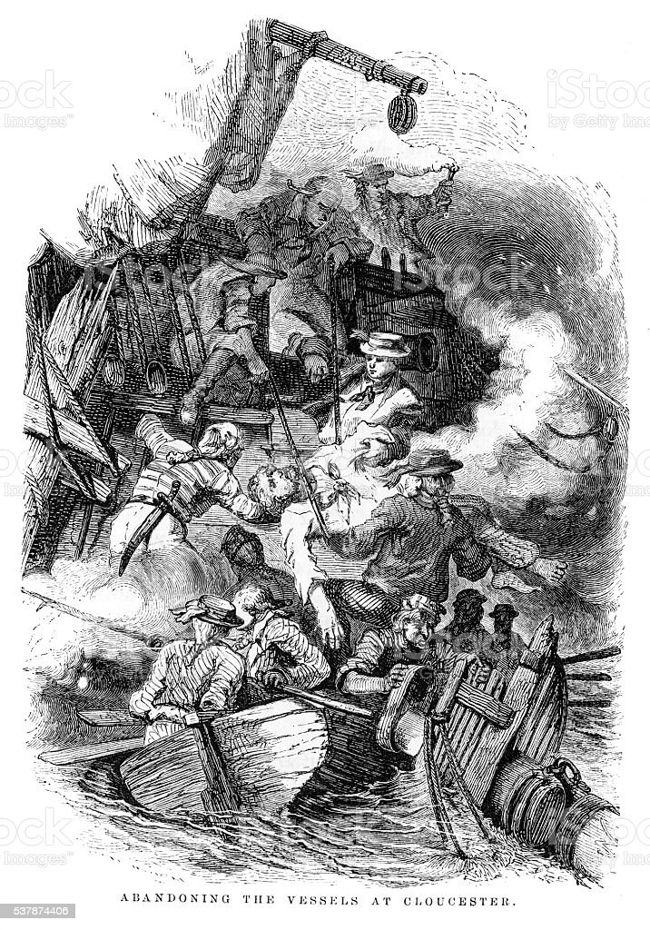 Abandoning the vessel at Gloucester engraving 1859 vector art illustration