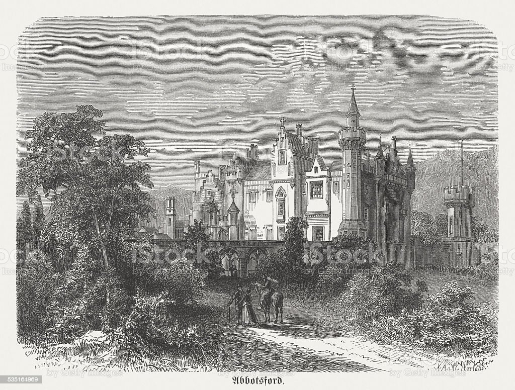 Abbotsford House, residence of Sir Walter Scott, published in 1871 vector art illustration