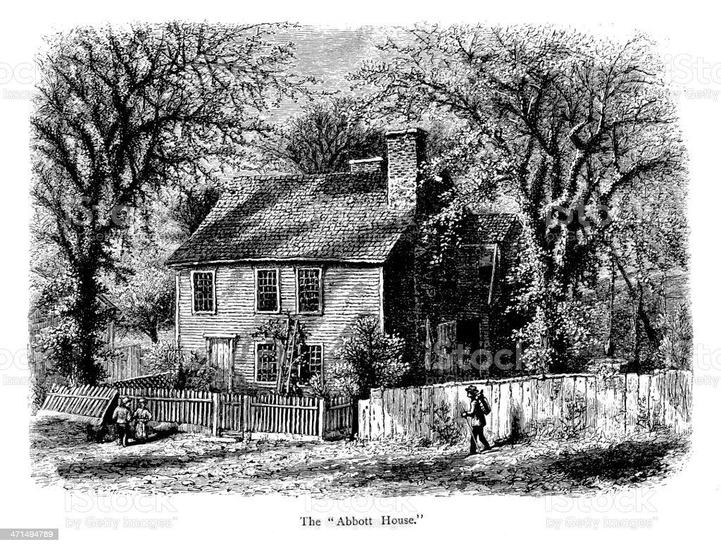 Abbott House, Providence, Rhode Island vector art illustration
