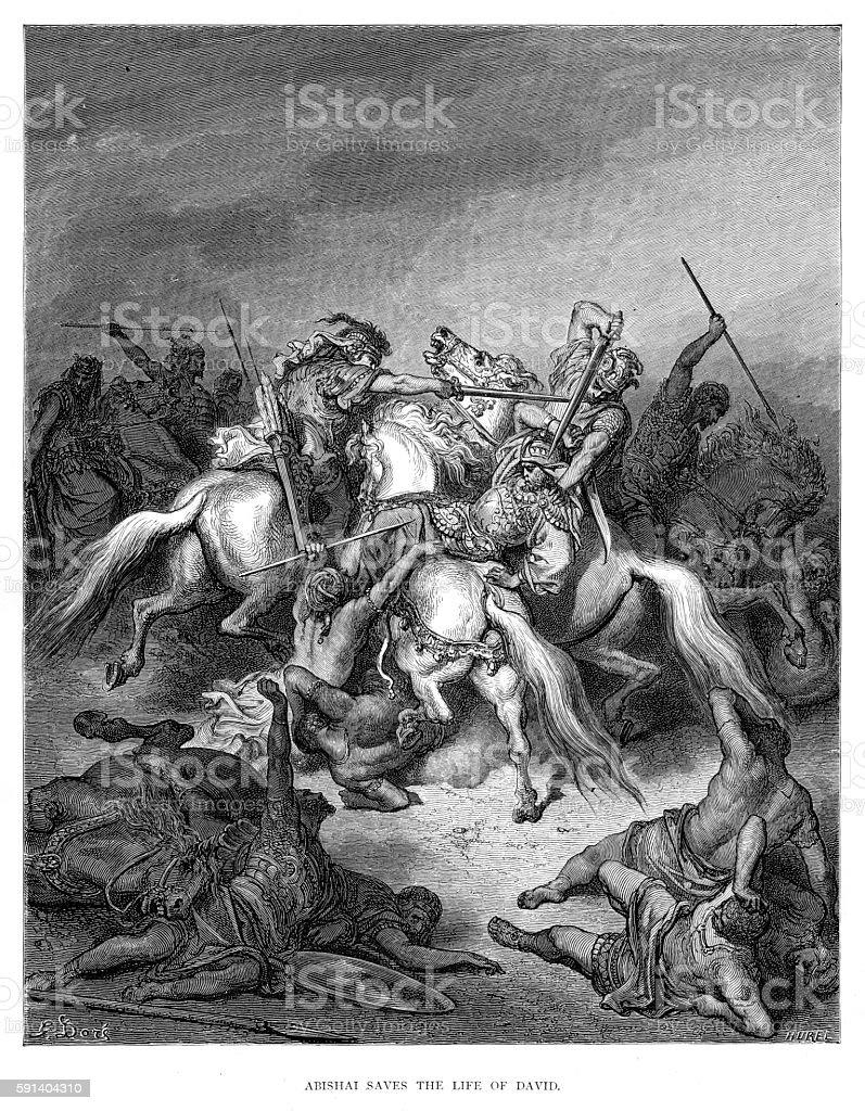 Abishai saves the life of David engraving 1870 vector art illustration