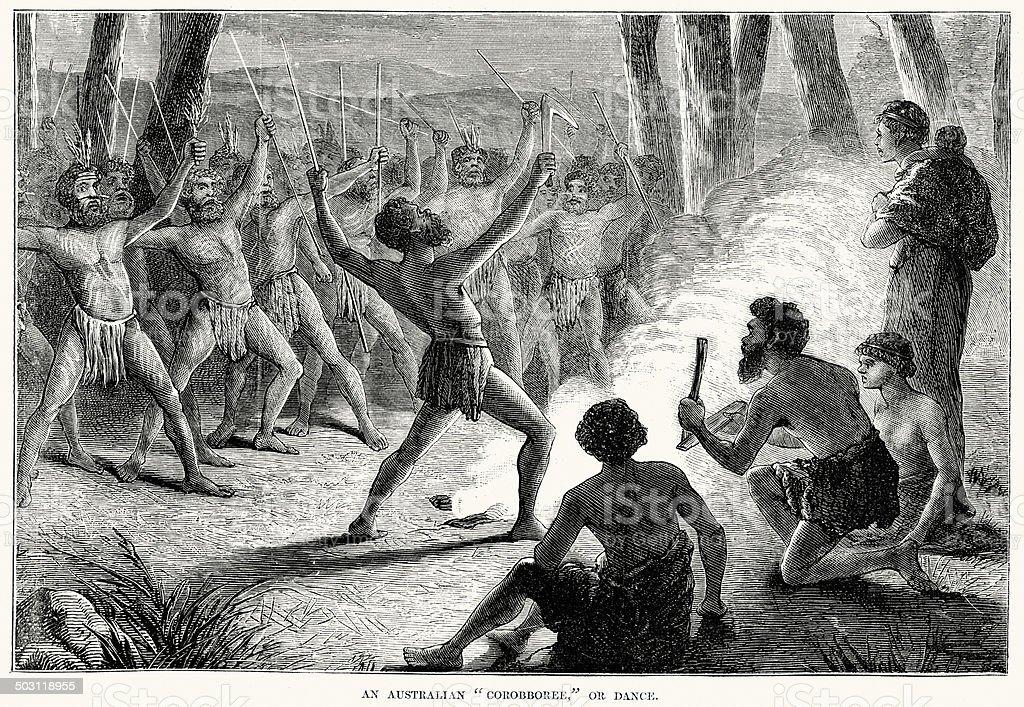 Aboriginal Australians Corroboree vector art illustration