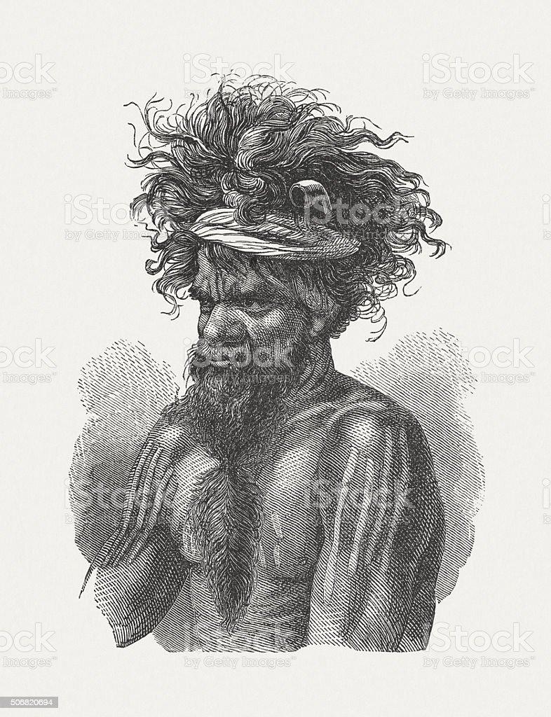 Aboriginal Australians, wood engraving, published in 1882 vector art illustration