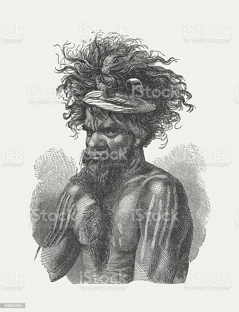 Aboriginal Australians, wood engraving, published in 1882 vector art illustration