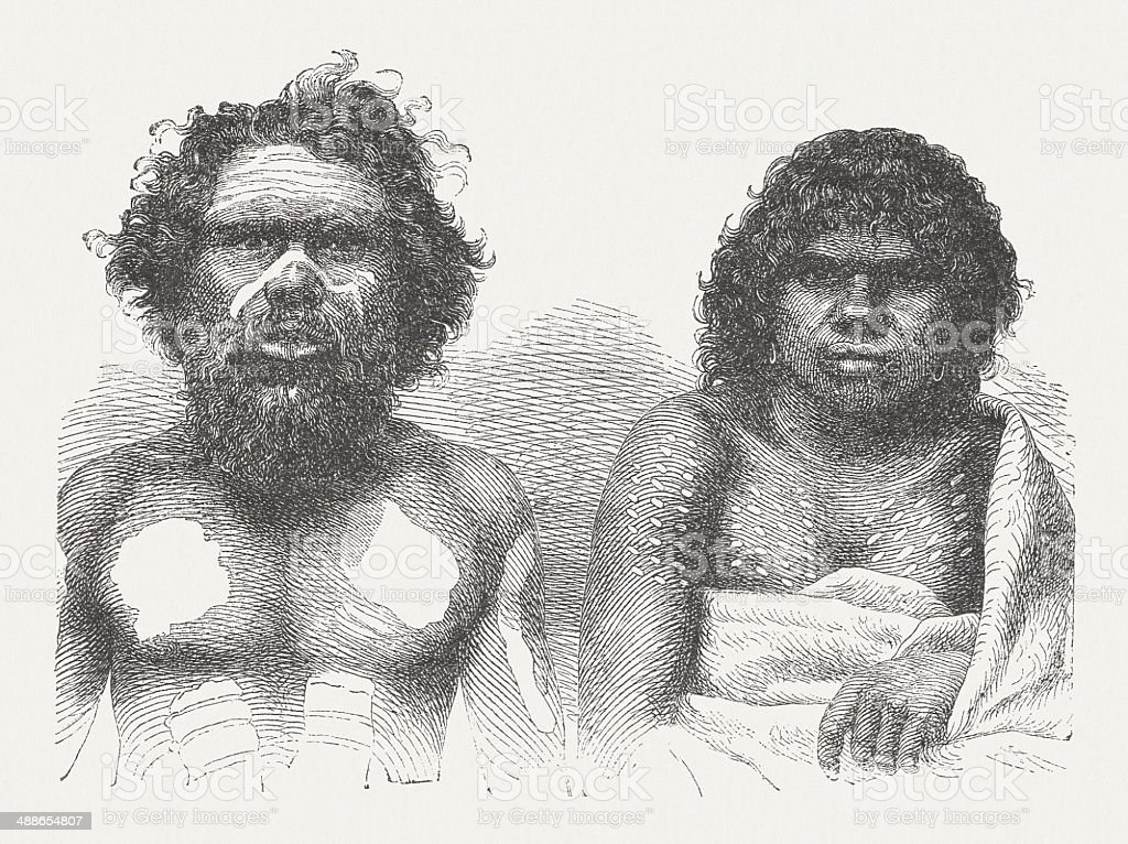 Aboriginal couple, native people from Australia, wood engraving, published 1876 royalty-free stock vector art