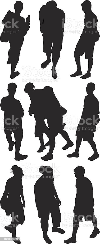 Above view of street people vector art illustration
