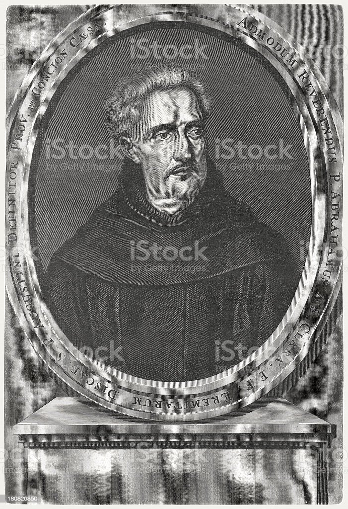 Abraham a Sancta Clara (1644-1709), Catholic priest, published in 1879 royalty-free stock vector art