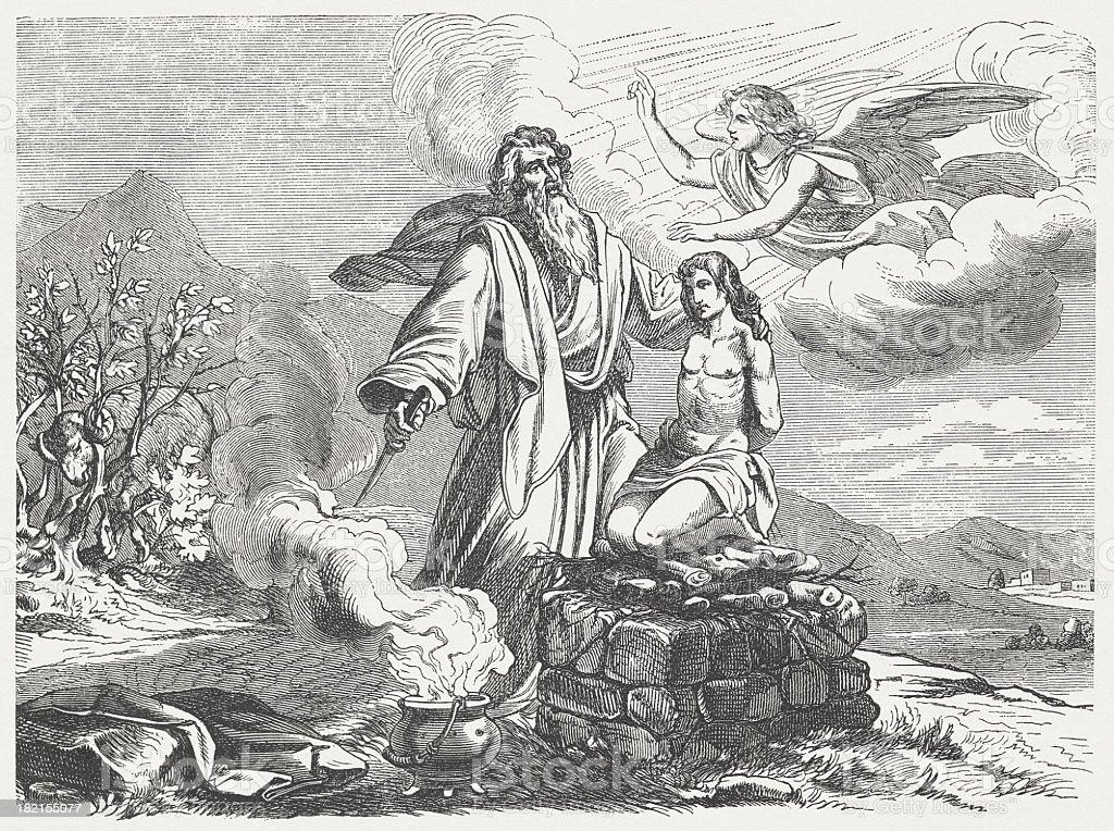 Abraham and Isaac vector art illustration
