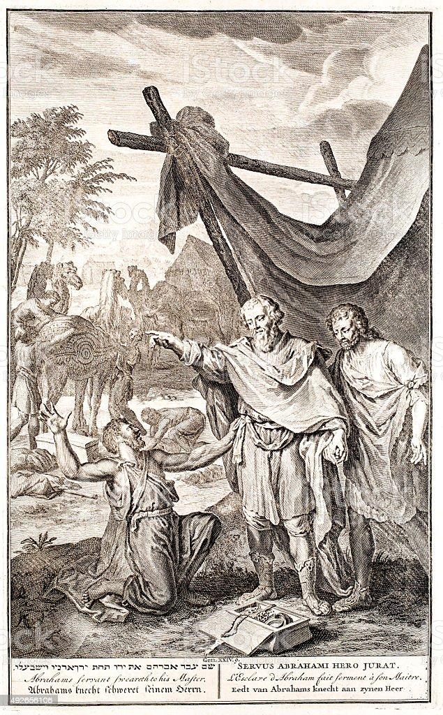 Abraham and servant, Genesis 24 vector art illustration