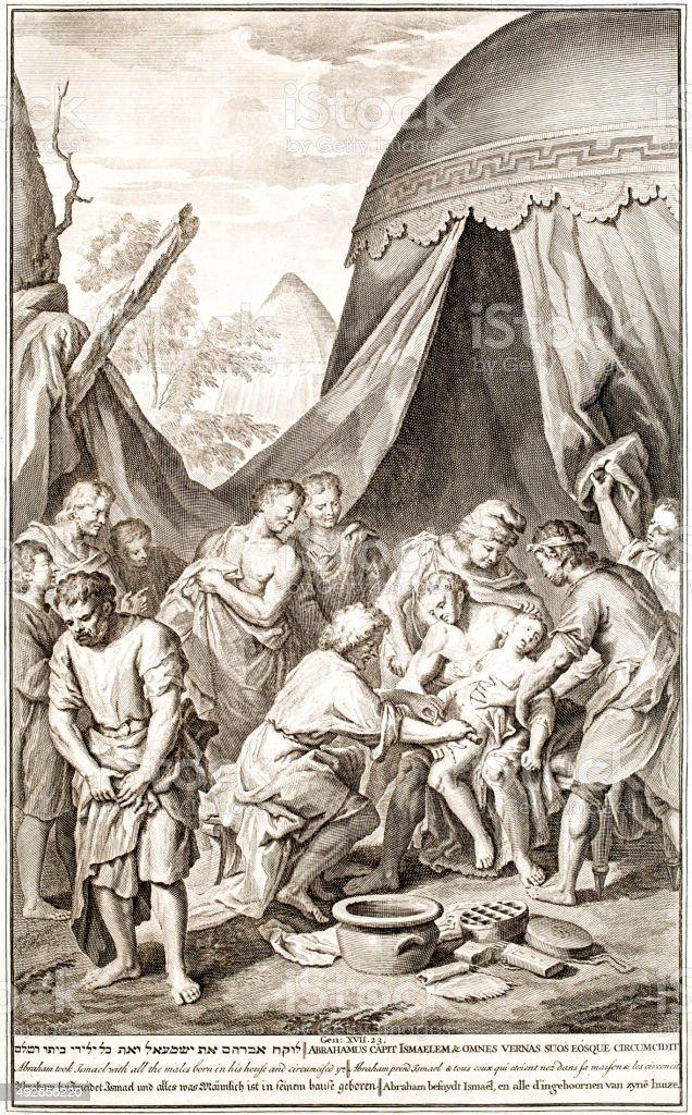 Abraham circumsizes men, Genesis 17 vector art illustration