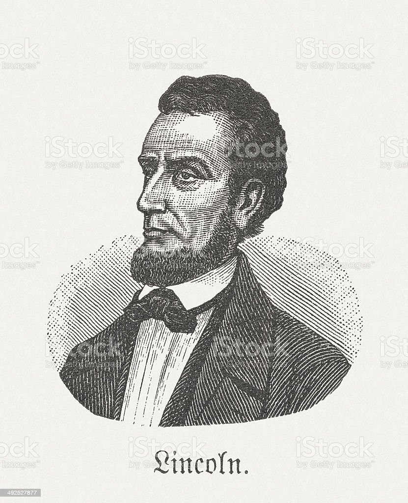Abraham Lincoln (1809-1865), 16th US-President, wood engraving, published in 1881 vector art illustration