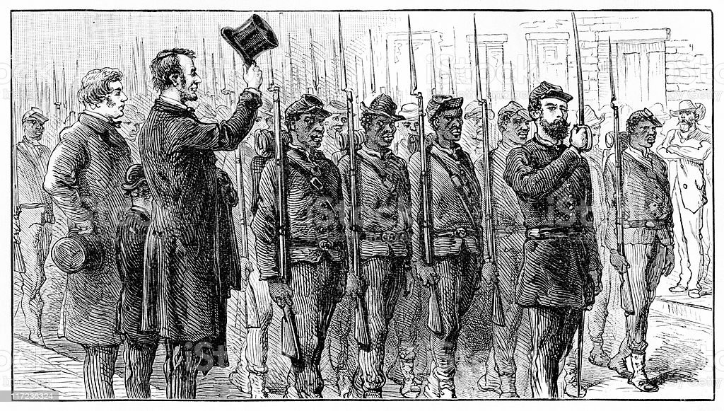 Abraham Lincoln and Charles Sumner Salute Union Troops vector art illustration