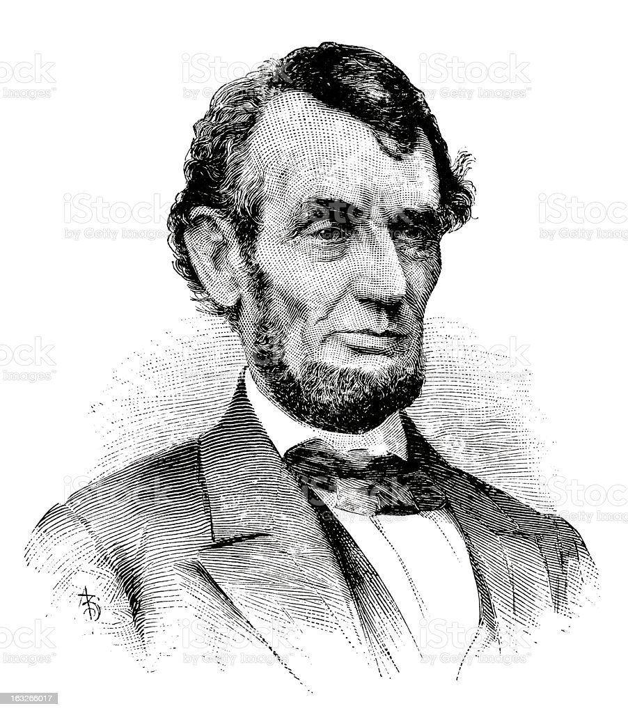Abraham Lincoln - Antique Engraved Portrait royalty-free stock vector art