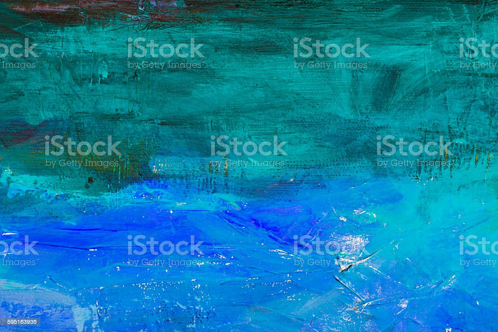 abstract acrylic painting with green and blue colors vector art illustration