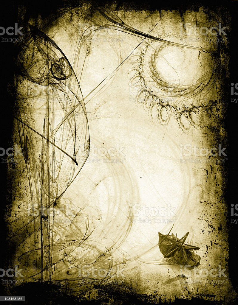 Abstract and Grunge Antique Border with Dead Fly in Corner royalty-free stock vector art