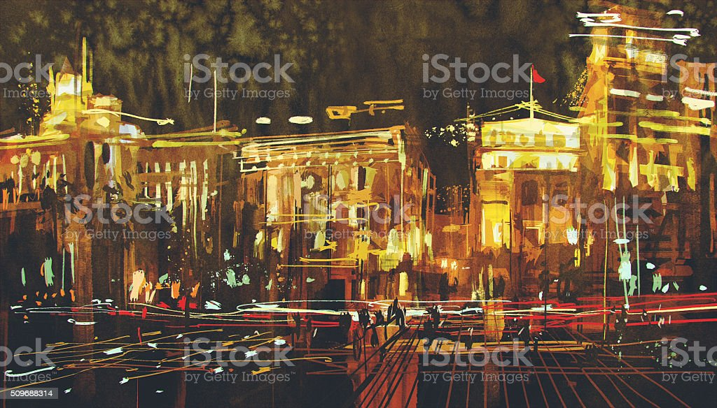 abstract art of city with colorful light vector art illustration